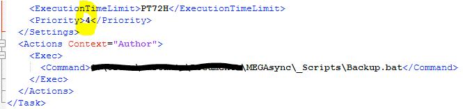 Exported Task Schedule